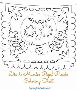 free dia de muertos papel picado coloring sheet printable With papel picado template for kids