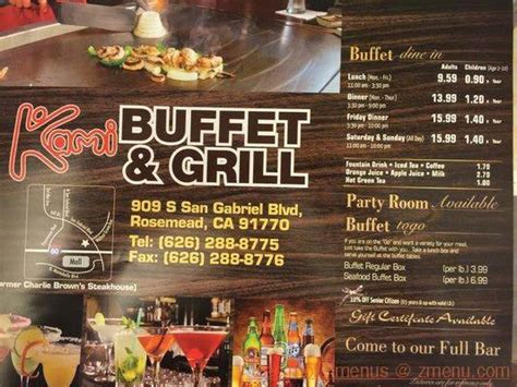 menu   buffet grill restaurant rosemead
