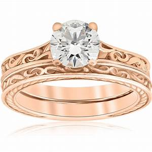 1ct diamond solitaire rose gold vintage engagement ring With wedding band for vintage engagement ring