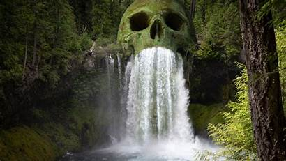 4k Waterfall Skull Forest Mystic Wallpapers 5k