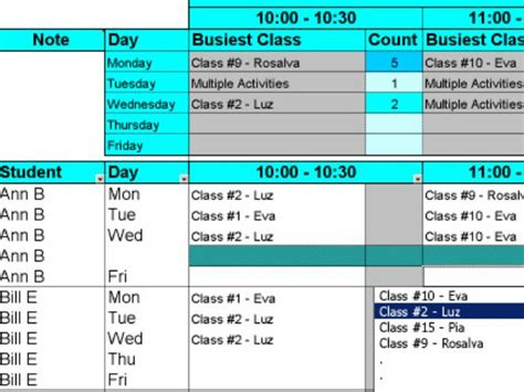 excel class schedule create student class schedules with excel the program was developed to schedule day care