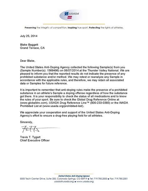 Motocross Resume Cover Letter by Baggett Usada Results Letter Moto Related Motocross Forums Message Boards Vital Mx