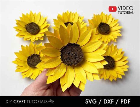 paper sunflower template svg dxf   paper flowers diy paper flower printable flower