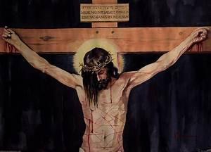 Crucifixion Painting by Ashok Karnik