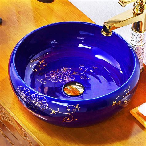 Small Royal Blue Floral Pattern High End Ceramic Bowl Sinks