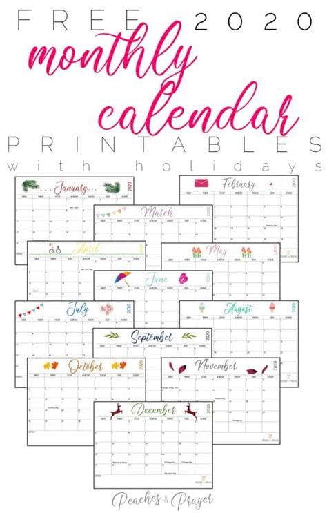 monthly calendar printables  options