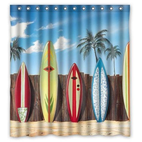 shower curtain charmhome custom colorful surfboards on palm tree Surfboard