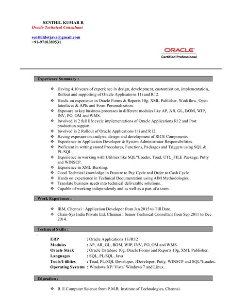 Oracle Hrms Consultant Resume by Resume Senthil Kumar R Oracle Apps Technical Consultant