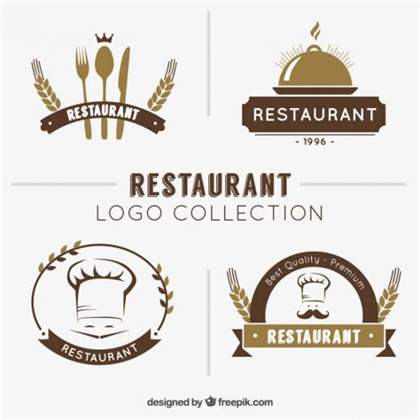 hand drawn restaurant logo collection vector free download