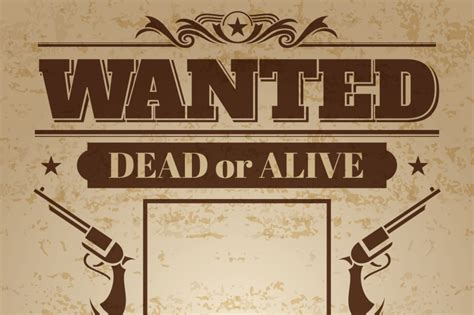 Vintage wanted western poster with blank space for ...