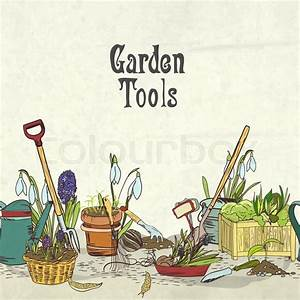 Hand drawn gardening tools album cover border or frame for ...