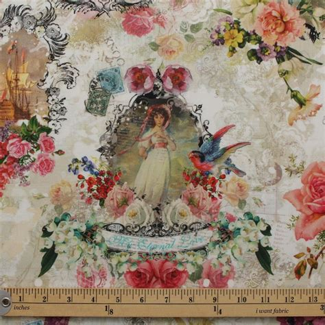 Script Upholstery Fabric by Vintage Shabby Script Colour Digital Print 100