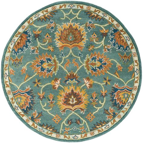 Blue Round Rugs 6 Feet by Safavieh Heritage Light Blue 6 Ft X 6 Ft Round Area Rug