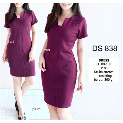 seds dress kantor dress pesta basic sepan stretch murah