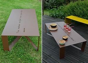 Table Metal Exterieur : table de salon de jardin en m tal 14 couleurs en vente ~ Teatrodelosmanantiales.com Idées de Décoration