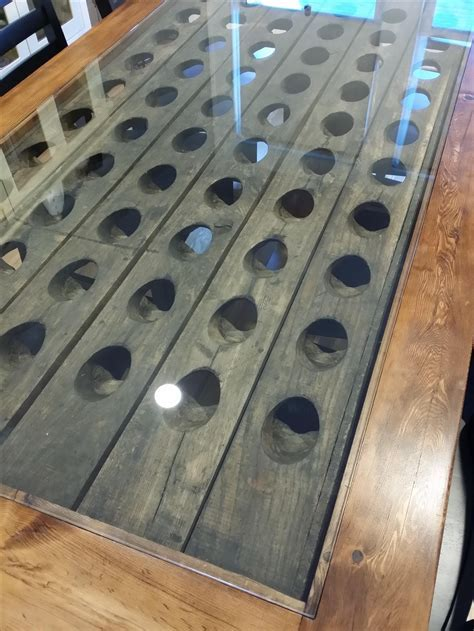 Hand Made Riddling Rack Trestle Table by K. Smith Custom