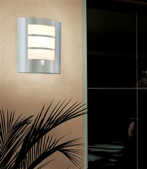flush outdoor pir sensor wall light stainless steel 88142