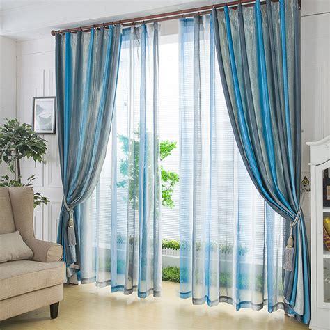 rideaux et voilages à rayure originaux couleur bleu et