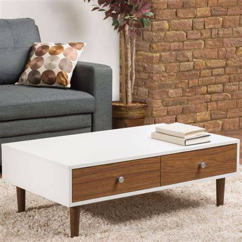Our classic mccobb mid century modern legs are offered in 4 species of wood: Modern Mid-Century Style White Wood Coffee Table with 2 Drawers | FurnishingsPlace.com