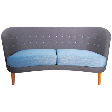 blue mid century modern sofa mid century modern slightly curved blue sofa for sale at
