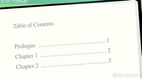 table of contents definition table of contents exles and format video lesson