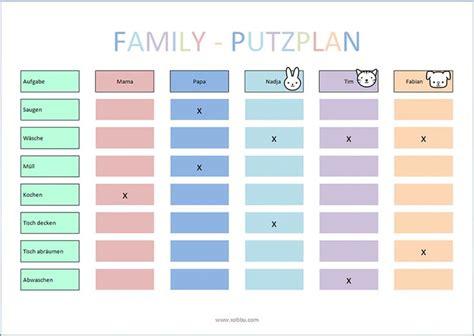 Putzplan Vorlage Kinder  Haushalt Pinterest