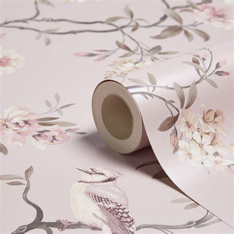 fine decor chinoiserie pink foliage birds wallpaper