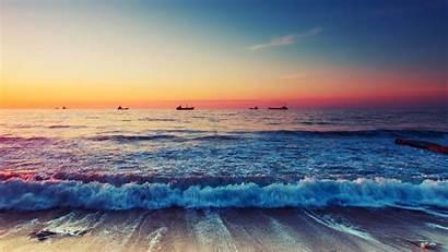 Beach Wallpapers Ocean Scenic Waves Sunset Horizon
