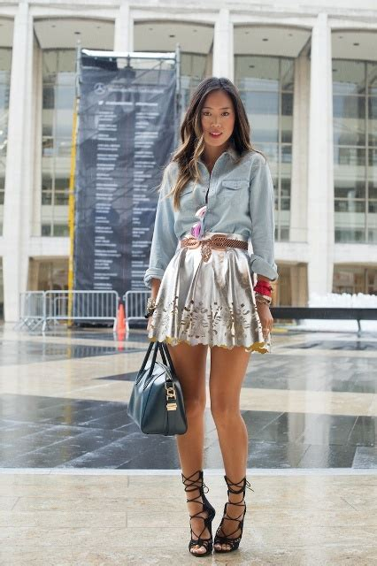 23 Shiny Metallic Skirt Outfits Youu2019ll Love - Styleoholic