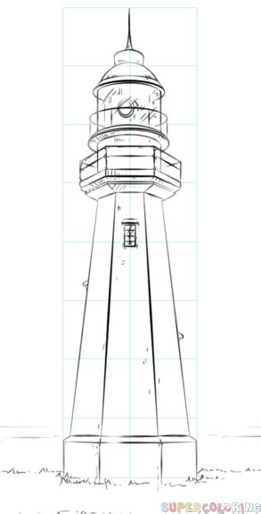 draw  lighthouse step  step drawing tutorials