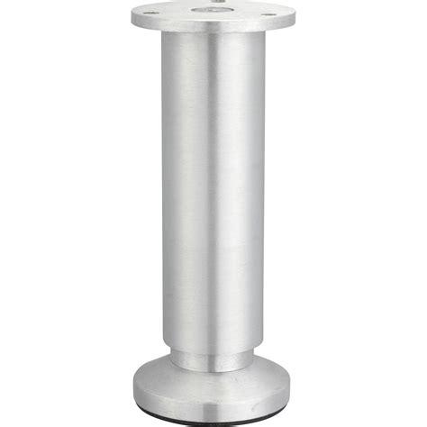 Pied De Meuble Cylindrique Réglable En Aluminium Brossé