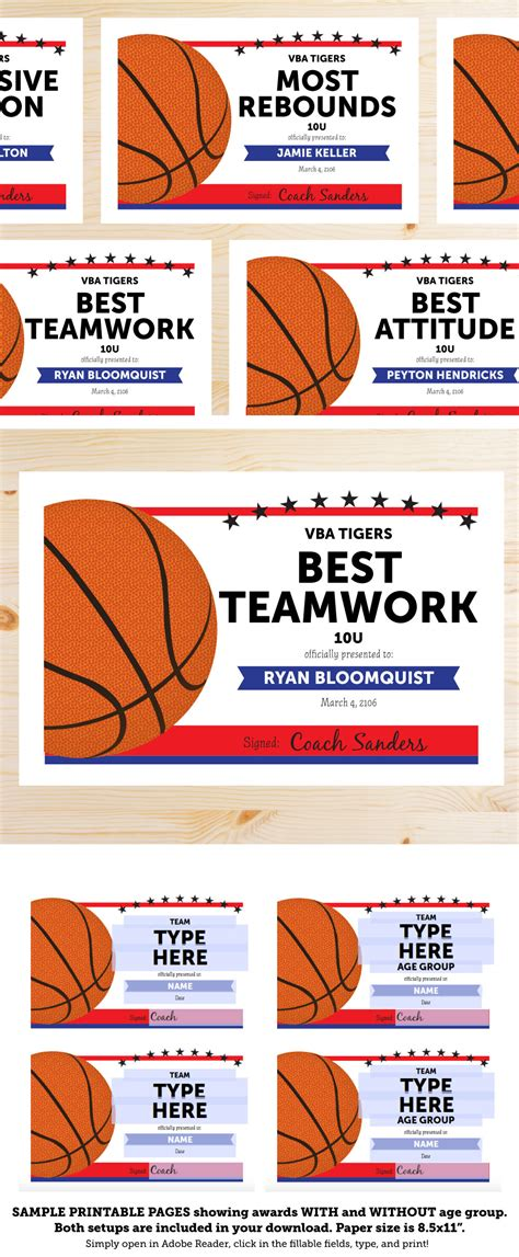 basketball award categories editable basketball award