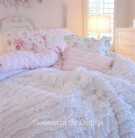 light grey shabby chic bedding shabby light grey cottage chic gray ruffles comforter set full queen ruffle ebay