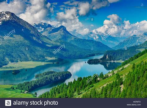 The Engadine Valley In Switzerland With Its Lakes In The