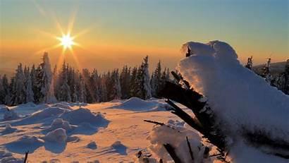 Winter Sunset Snow Wallpapers Trees 1080p Drifts