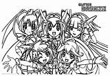 Glitter Force Coloring Pages Precure Printable Five Adults sketch template