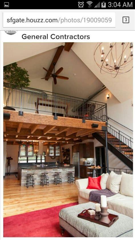loft  kitchen open  great room barn house interior loft house house plan  loft