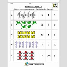 Kindergarten Math Worksheets Printable  One More