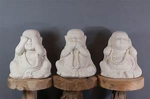 Statue Singe De La Sagesse : set de 3 statues moine de la sagesse 40 cm blanc ~ Teatrodelosmanantiales.com Idées de Décoration