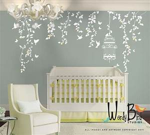 hanging vines wall decal for baby girl nursery with With baby wall decals