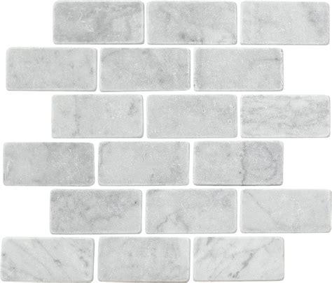tumbled carrara marble bianco white carrara marble 2 quot x 4 quot brick tumbled mosaic tile
