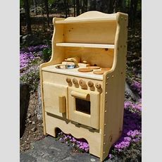 Child's Wooden Play Kitchen Waldorf Kids Toys Stove Oven
