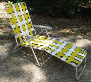 3 vintage webbed aluminum folding lawn chairs