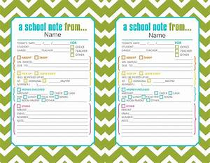 Printable Doctors Note For School Green Cute Printable School Notes If Your Little On Is