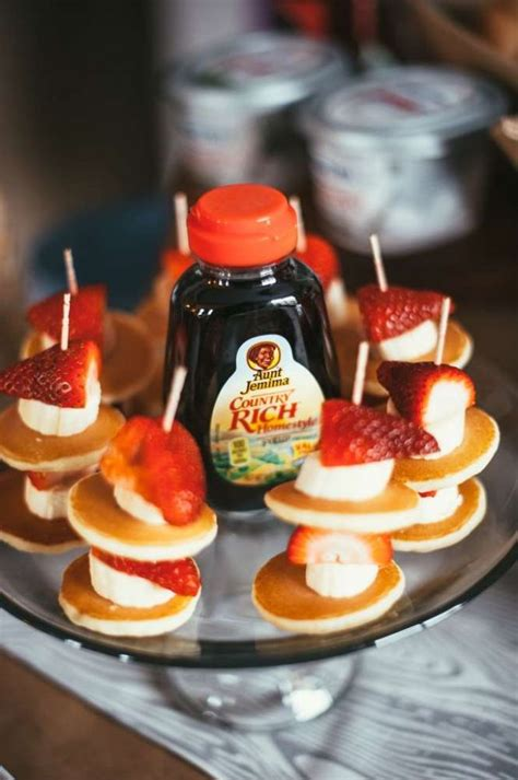 boys woodland themed  birthday party food pancake