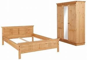 Bett Und Schrank : home affaire schlafzimmer set 2 tlg indra bestehend aus 140er bett und 3 t rigem schrank ~ Markanthonyermac.com Haus und Dekorationen