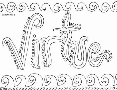 Doodle Coloring Alley Virtue Word Printable Sheets