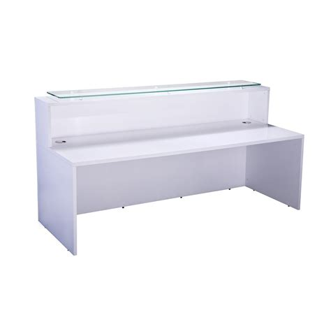 white reception desk aof white reception desk with glass top white