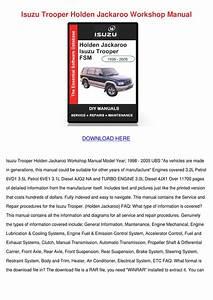Isuzu Trooper Holden Jackaroo Workshop Manual By Aimee Mas