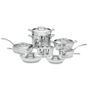 cuisinart french classic tri ply stainless  piece cookware set  lids fct   home depot